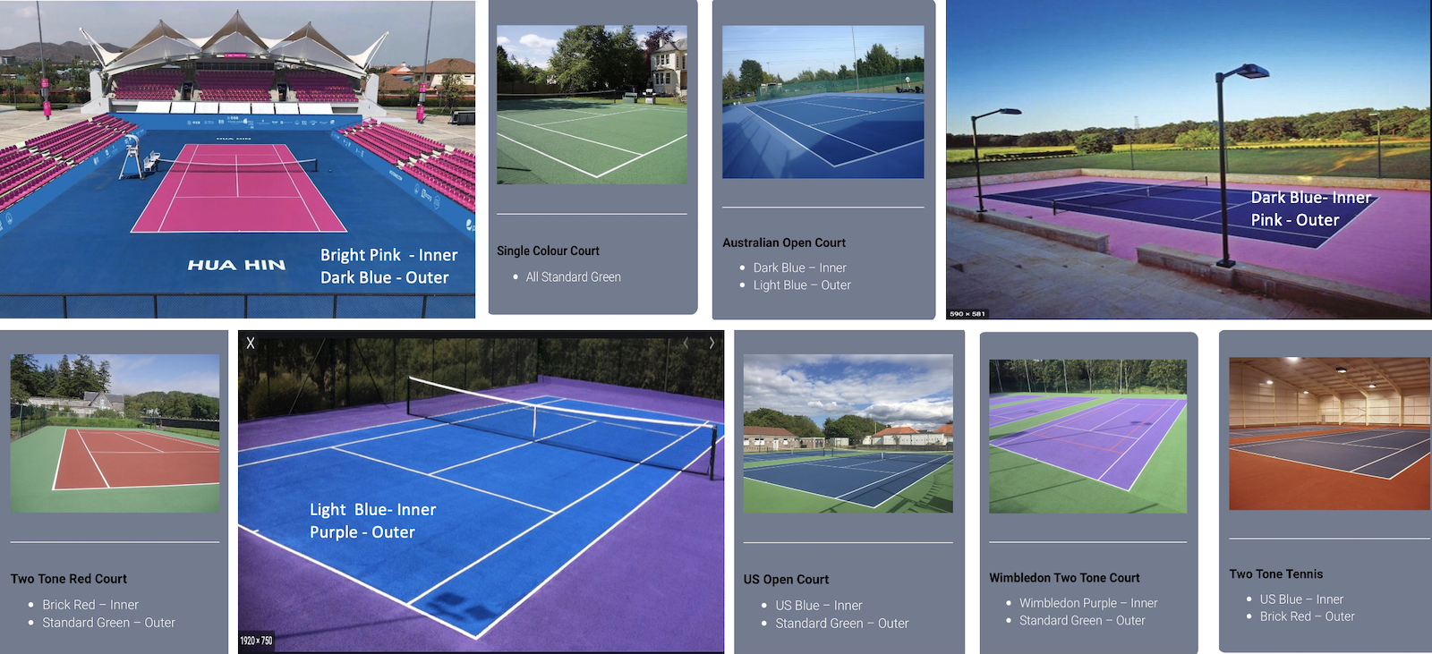 Choose the courts' colours
